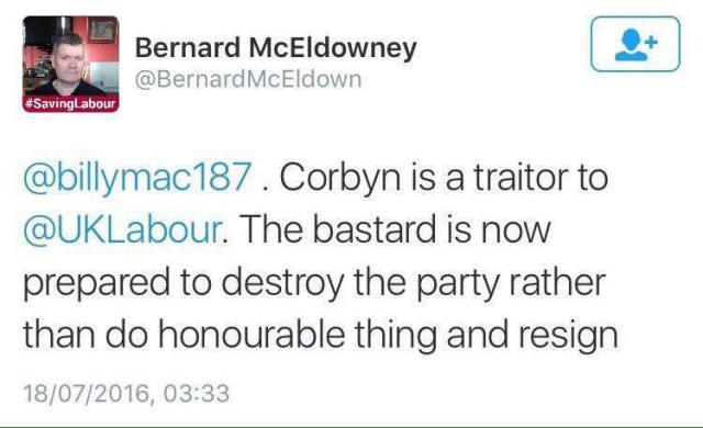 bernard-mceldowney-twitter-corbyn-traitor-bastard